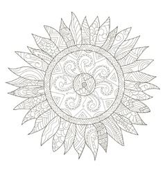 Mandala flower sunflower coloring for vector image vector image