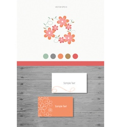 Modern business card design template with flowers vector