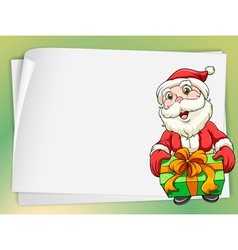 paper sheets and santa claus vector image vector image