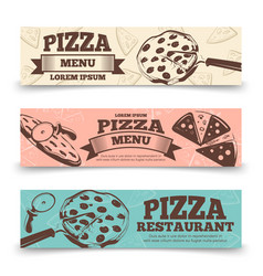 pizza menu banners template - food vintage banners vector image