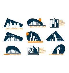 Real estate logo set abstract creative building vector