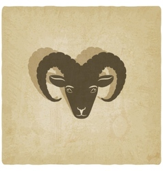 Sheep head symbol old background vector