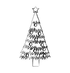 Sketch draw christmas tree cartoon vector