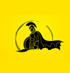 Spartan warrior with sword and shield roman army vector