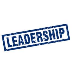 Square grunge blue leadership stamp vector