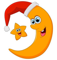 star and moon on christmas vector image