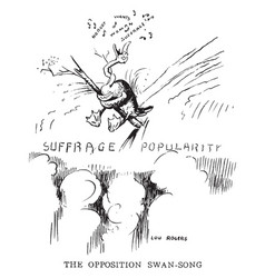 Womens suffrage cartoon - swan song vintage vector