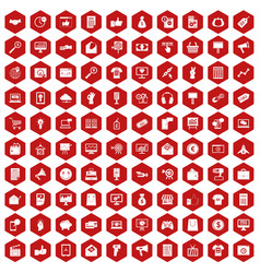 100 internet marketing icons hexagon red vector