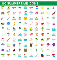 100 summertime icons set cartoon style vector