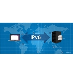 IPv6 Internet Protocol version 6 connection server vector image