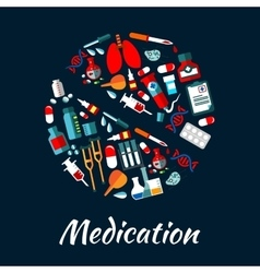 Medication poster with icons in pill shape vector