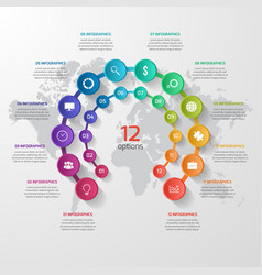 Abstract circle infographic 12 options vector