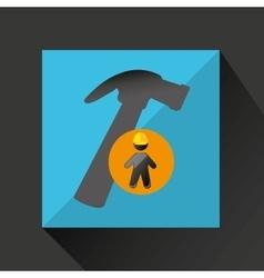 Man silhouette helmet and hammer design graphic vector