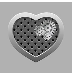 Metal heart with silver gears on the dark vector image
