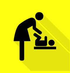 Symbol for women and baby baby changing black vector