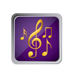 Button with set of musical notes background purple vector