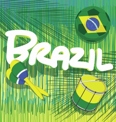 Brazil soccer with tropical background vector