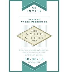 Wedding invitation green ribbon theme vector
