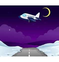 A plane above the road vector