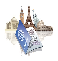 passport and landmarks vector image