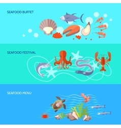Sea food banner set vector