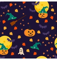 Halloween seamless pattern with holiday objects vector