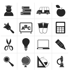 Black education and school icons vector