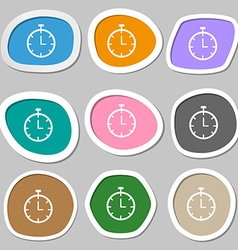 Stopwatch symbols multicolored paper stickers vector