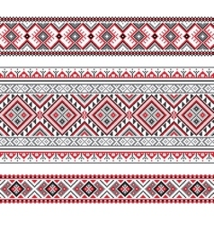 Set of ethnic ornament pattern in polygonal style vector