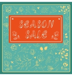 Season sale inscription with floral background vector