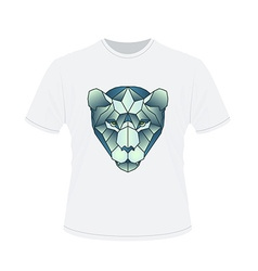 Polygonal head of tiger on white t-shirt in vector