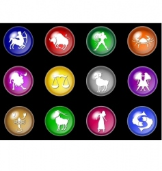 12 colorful zodiac web buttons vector
