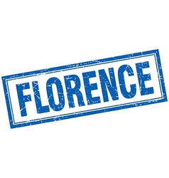 Florence blue square grunge stamp on white vector