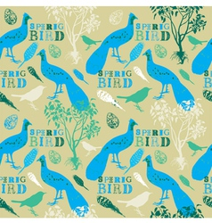 Vintage spring birds pattern vector