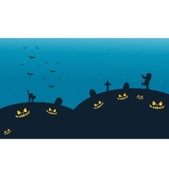 Silhouette of cat and zombie halloween backgrounds vector