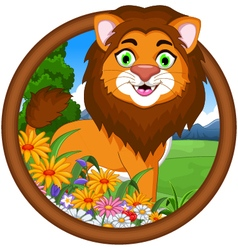 Lion cartoon in frame vector