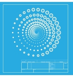 Abstract technology circles sign white section of vector