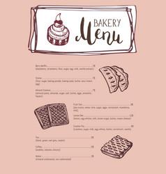 Bakery vintage restaurant menu template vector