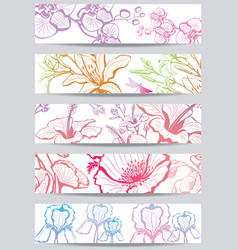 banners with flower vector image