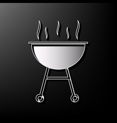 Barbecue simple sign gray 3d printed icon vector
