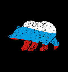 Bear russia flag emblem national traditional vector