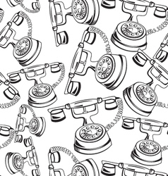 Black and white contour phone seamless vector