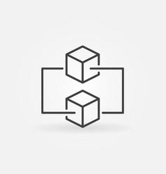 blockchain minimal outline icon vector image vector image
