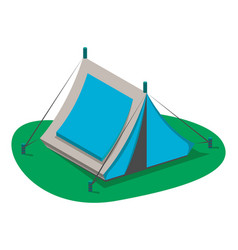 blue tourist tent icon isolated vector image