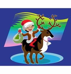 Boy astride reindeer vector image