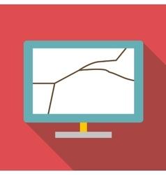 Broken screen of computer icon flat style vector image