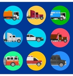 Cars icons on a blue background vector image vector image