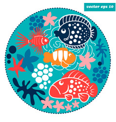 Cartoon fish circle vector