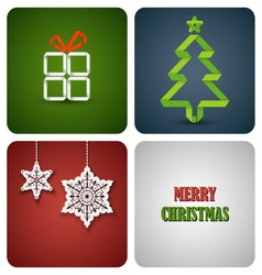 Christmas decoration card on white paper vector image