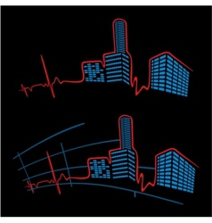 EKG of city vector image vector image